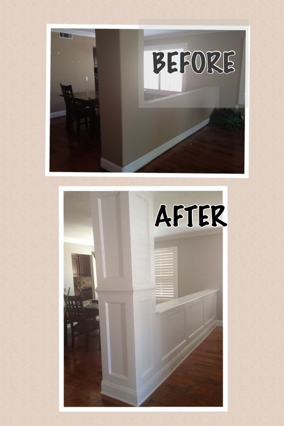 Along those lines, adding molding or wainscoting to pillars and ledges can create a more interesting look
