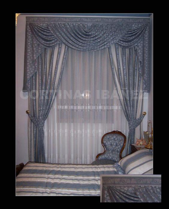 Cortina con bando drapeado en hondas y corbatas modelo - Volantes de cortinas ...