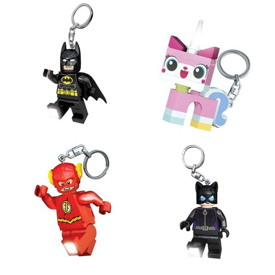 Stylish zipper pulls for kids make fun backpack accessories: LEGO Batman, Unikitty, Flash, and Catwoman keychains
