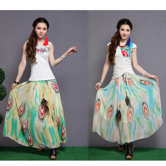 New Retro Women Chiffon Maxi Skirt  Feather Print Long Swing Skirt