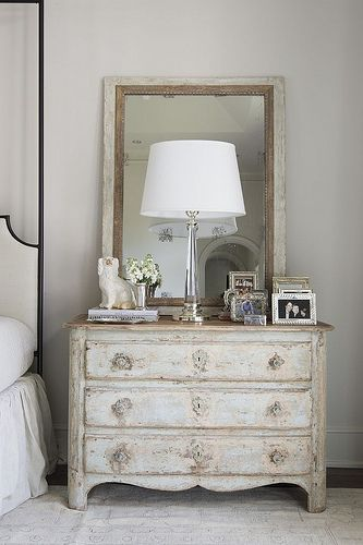 French country farmhouse decor in a bedroom with antique chest near bed. Nest and Cot Interior Design. #frenchcountry #frenchfarmhouse #bedroomdecor