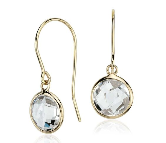 White Topaz Solitaire Earrings in 14k Yellow Gold (7mm)