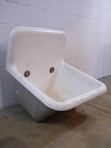 Porcelain Mop Sink : Architectural Salvage - Cast Iron Wall-Hung Mop Sink Old Sink ...