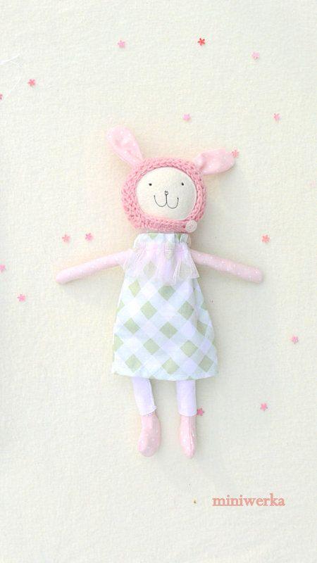 Stuffed Bunny Toy Dress up Rag Bunny Doll  pink by MiniwerkaToys