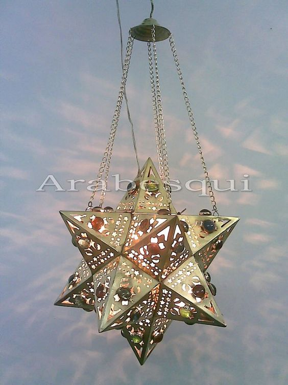 BR88 NEW! Moroccan Brass Jeweled Pendant Star Lamp in Collectibles, Lamps, Lighting, Night Lights | eBay