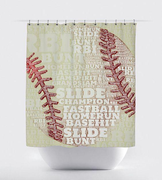 Baseball shower curtain baseball team typography sports for Baseball bathroom ideas