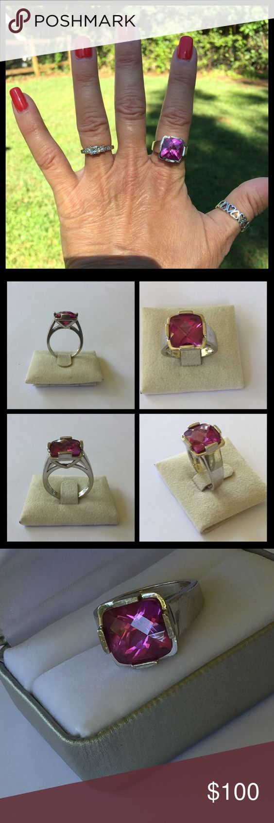 Pink Sapphire Cushion Cut Checkerboard Cut Ring 💞Sterling silver pink Sapphire designer ring. It is a nice size and stands up high. It is fully hallmarked. In good preowned condition. Size 8💞 designer Jewelry Rings