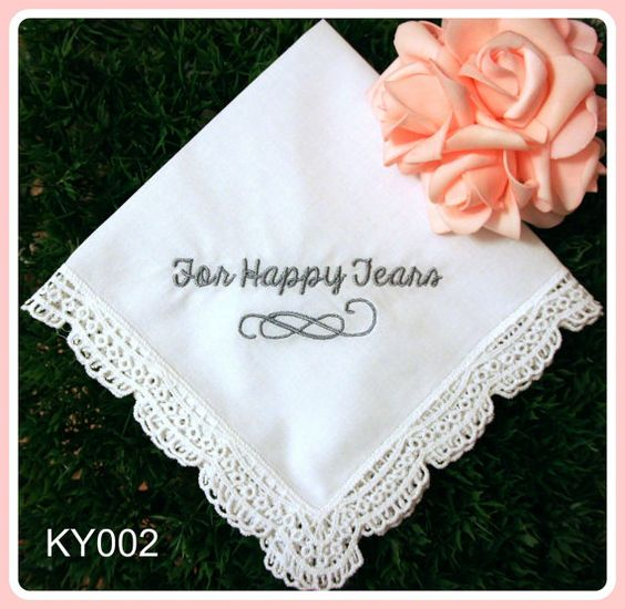 Wedding Party Gifts Canada: Wedding Hankerchief-For Happy Tears-EMBROIDERY Hankies