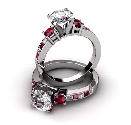 3 Stone Diamond with Ruby Engagement Ring. This classic three stone engagement ring has a 0.20 ct round cut ruby set on each side of the center and additional fire with ten princess cut diamonds and ruby gems that are channel set down the sides of the ring setting. Price From: $2,189 (Sale Price: $1,970) http://nataliediamonds.com/three-stone-diamond-and-ruby-engagement-ring-056rb1.html #NatalieDiamonds #engagementrings #diamonds