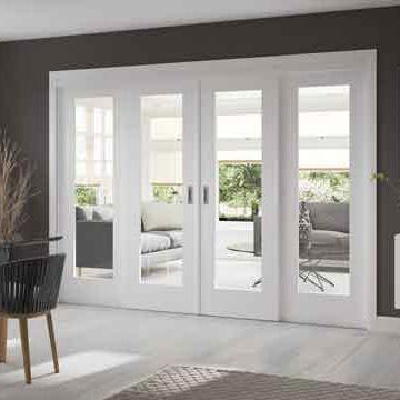These Easi-Slide white full pane shaker sliding doors incorporating a frame and track set with fixed side insetsincludes clear safetyglass, when you add on the frame dimensions and allow the two opening centre doors to overlap the fixed side frame sidelights by 16mm you have a maximum overall width as follows; All2090 high inc 29mm extra for site adjustment, and widths of either 2510mm, 2810mm, 3110mm or 3410mm overall.