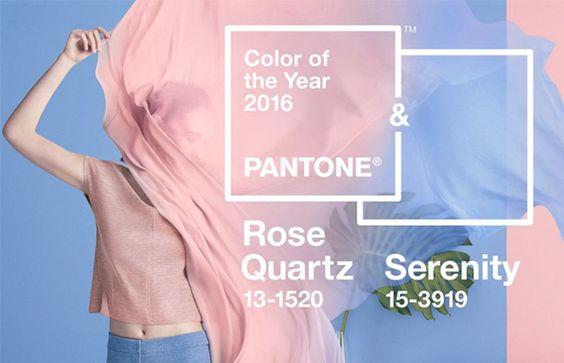 APantone anunciou pela 1ª vez, duas cores para o ano de 2016. Os tons suaves são chamados Quartzo Rosa (Rose Quartz) e Serenidade (Serenity).: