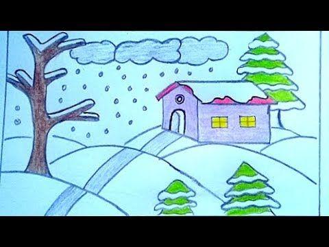 رسم منظر طبيعي جميل رسم فصل الشتاء رسم سهل How To Draw Scenery Landscape Youtube Nature Drawing Easy Scenery Drawing Easy Drawings