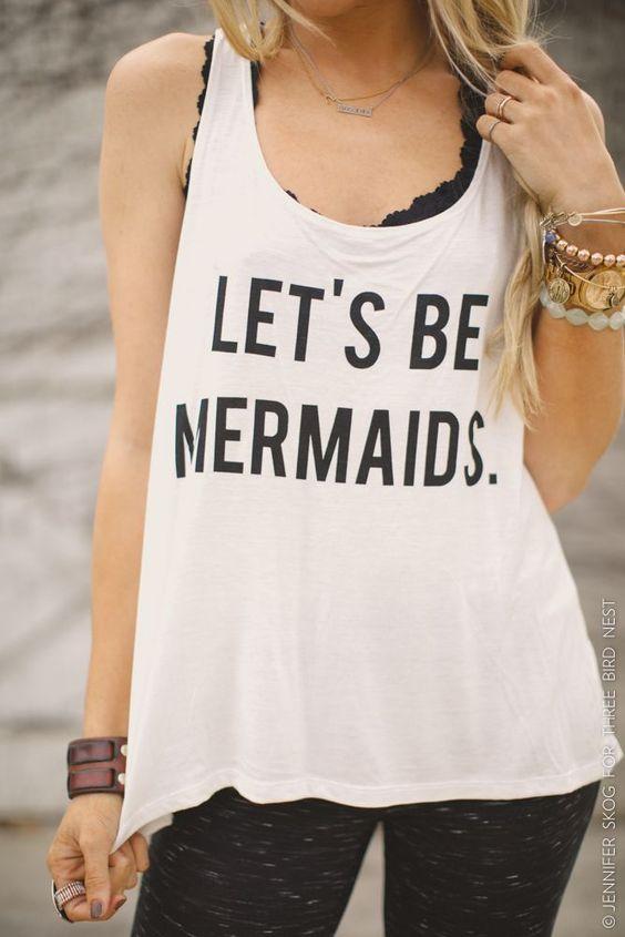 Let's be mermaids, custom mermaids tank top.