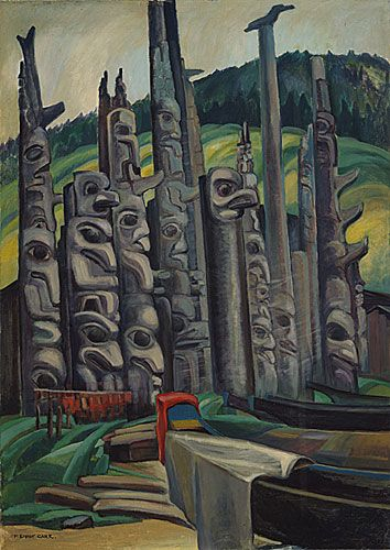 Painting by Emily Carr, born Victoria, B.C. Totem Forest, 1930 oil on canvas
