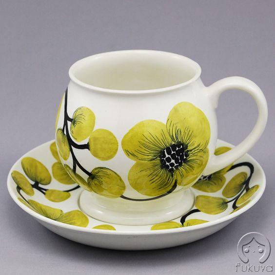 北欧アンティーク食器黄緑の花