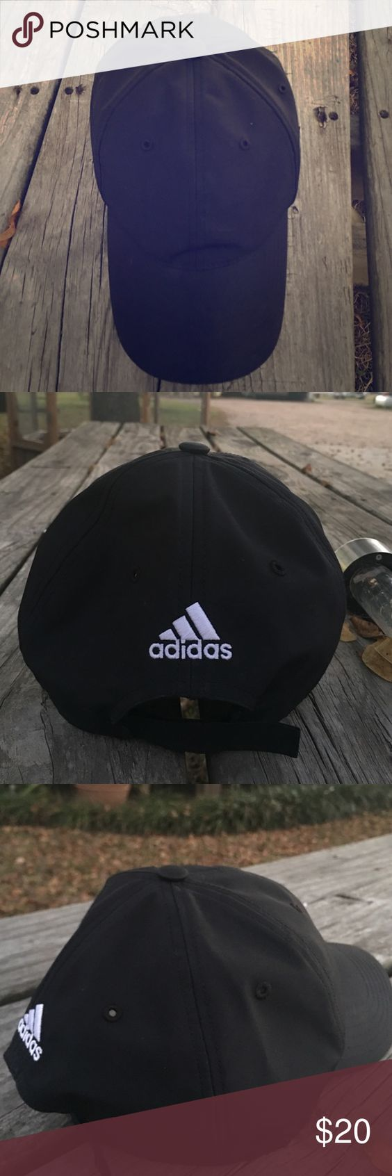 Black Adidas hat Bought and worn once black adjustable 'one size fits most' adidas cap/baseball hat. Like new Adidas Accessories Hats