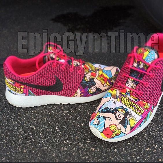 :D I have Roshe and they're so comfy... I want these.   Wonder Woman Nike Roshe by EpicGymTime on Etsy