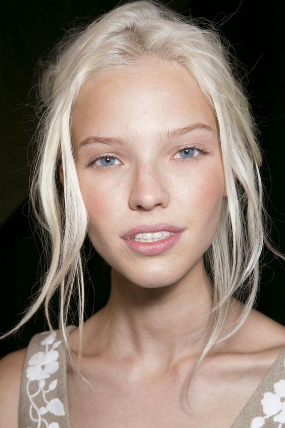 Sasha Luss, Valentino ss14 // white bleached blonde hair on a natural blonde: