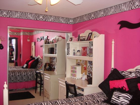 Hot pink room girls and so cute on pinterest for Pink zebra bedroom ideas