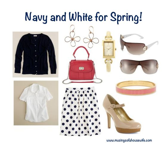 Cute navy and white spring outfit. Perfect for Easter or other spring events! via musingsofahousewife.com