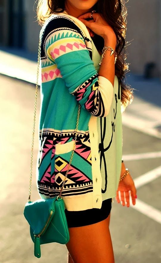 Adorable, Colorful Patterned Long Cardigan with Blue Long Bag, Mini Black Short, Accessories and Sports T-shirt, Fashion for Fall and Spring...: Tribal Sweater, Dream Closet, Spring Summer, Tribal Cardigan, Colorful Cardigan, Aztec Sweater, Aztec Cardigan