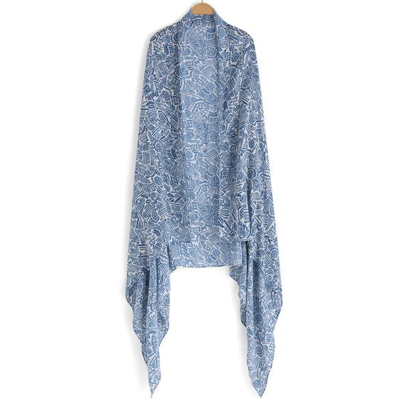 Geometric Print Scarf ($9.90) ❤ liked on Polyvore featuring accessories, scarves, blue, blue scarves, blue shawl, print scarves e patterned scarves
