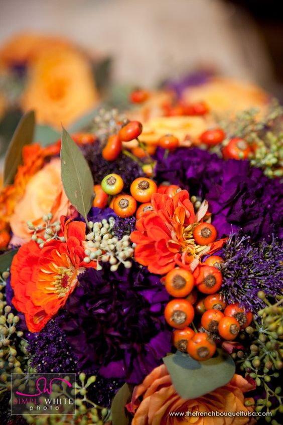 Purple-and-Orange-Bridal-Bouquet-Flowers-of-Rose-Hips-Trachelium-Carnations-Green-Seeded-Eucalyptus-Zinnia-and-Roses-Simply-White-Photo-by-Ace-Cuervo-The-French-Bouquet.jpg (600×900)