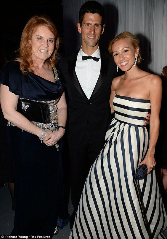 7/8/13.     Offering her congratulations: Sarah chatted to Novak Djokovic, who came second to Andy Murray at this year's Wimbledon