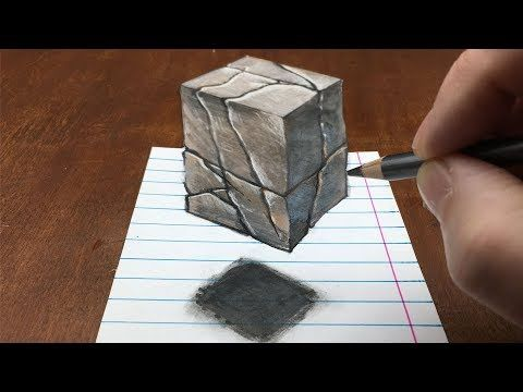 How To Draw Floating Stone Cube Drawing 3d Cube Illusion By Vamos Youtube Drawings Illusions 3d Cube