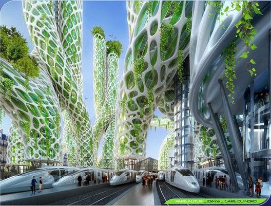 "Vincent Callebaut's 2050 Vision of Paris as a ""Smart City"",Mangrove Towers from street level. Image Courtesy of Vincent Callebaut Architecture"