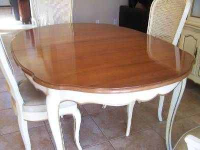 Cane Back French Provincial Dining Chairs And Table