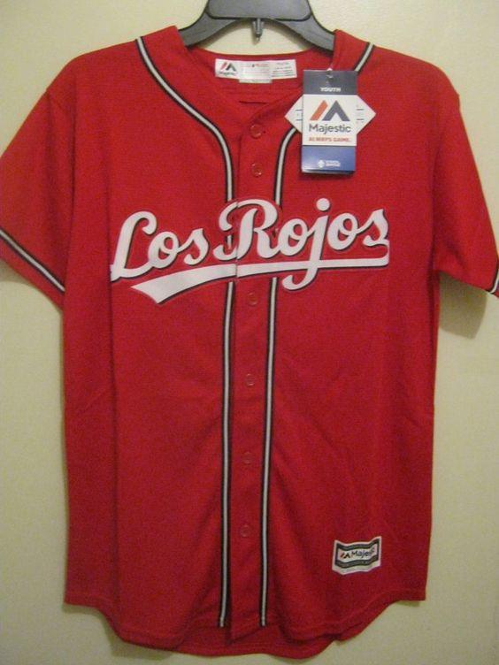 Los Rojos(Cincinnati Reds) boys(youth) Majestic cool base baseball jersey | Sports Mem, Cards & Fan Shop, Fan Apparel & Souvenirs, Baseball-MLB | eBay!