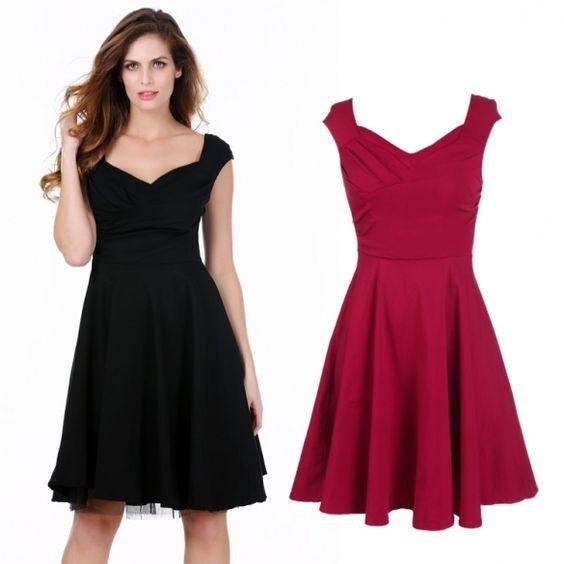 Stylish Lady Women's Fashion V-neck Sleeveless Pleated A-line Swing Dress