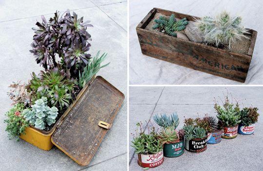 Upcycled succulent planter - Macetas recicladas para suculentas