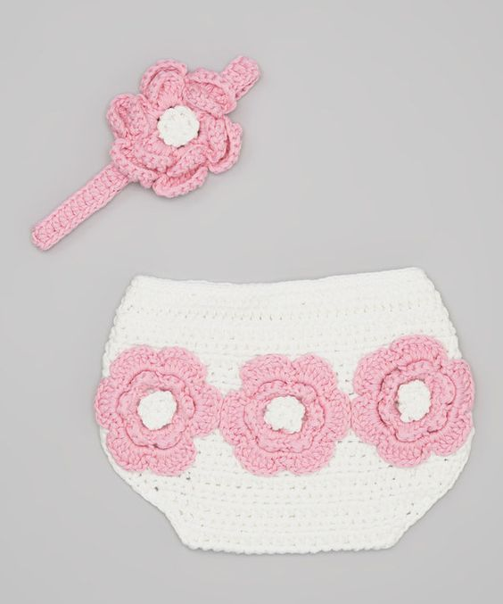 Look at this Pink Flower Crocheted Diaper Cover & Headband on #zulily today!