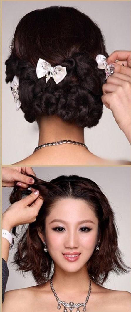 Wedding Bridal Short Hair To Long Extensions Braid TUTORIAL How Style With ASIAN MODEL