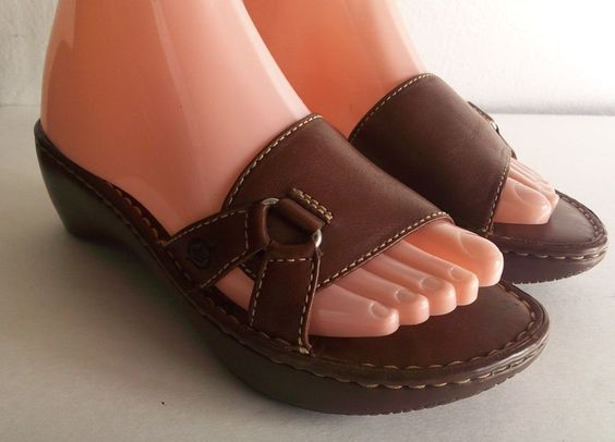 BORN Brown Leather Slide Wedge Sandals Ladies Size 7 / 38  = Free USA Shipping