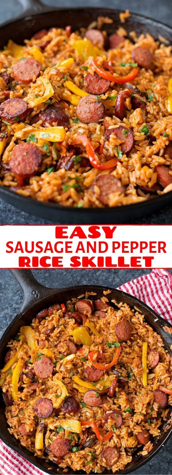 Sausage Papper And Rice Skillet Recipe Quick Dinner Recipes Easy Dinner Recipes Healthy Beef Recipes