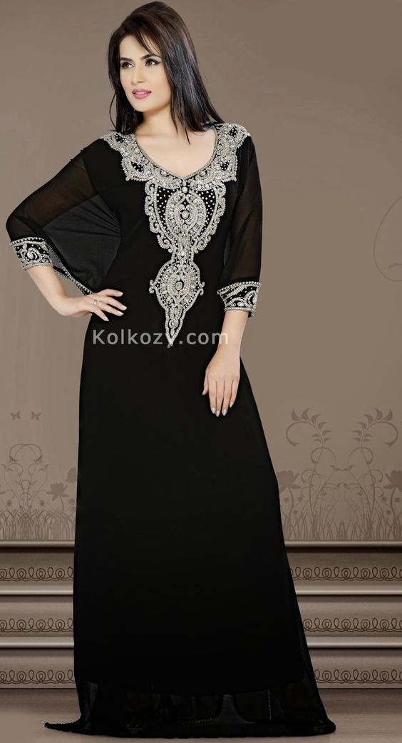 Unique Styling And Unusual Material Be The Center Of Attraction With This unique Black Color Faux Georgette #Modern #Kaftan.