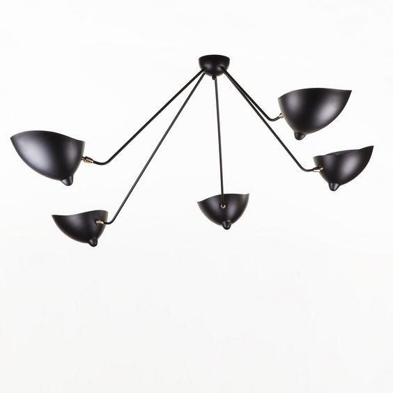 Mid-Century Modern Reproduction 5 Arm MCL-SP5 Spider Ceiling Lamp Inspired by Serge Mouille