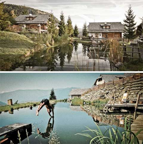 The Almdorf Seinerzeit is a charming mountain retreat close to the Austrian Nockberge National Park. It looks as if it was taken out of a children's fairytale, with its charming, chocolate-box village, 20 traditional mountain huts, bathing house, two ponds, and all the fresh air you can imagine.