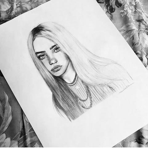 Drawing Billie Eilish Celebrities Billie Eilish Prominent Drawing 2020 Cizimler Cizim Fikirleri Karakalem Cizimler