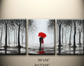 Painting As Wedding Gift : ... stretched canvas,great wedding gift Black White Red, Abstract Pai