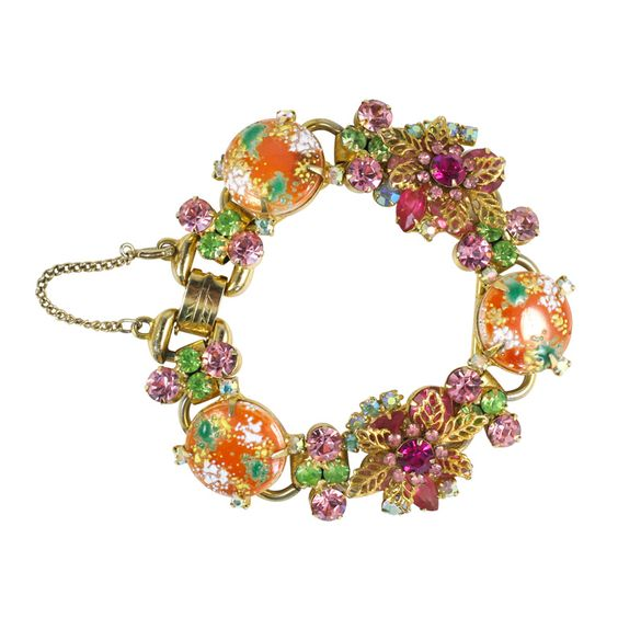 Orange, Green, and Pink Juliana Bracelet | From a unique collection of vintage link bracelets at http://www.1stdibs.com/jewelry/bracelets/link-bracelets/