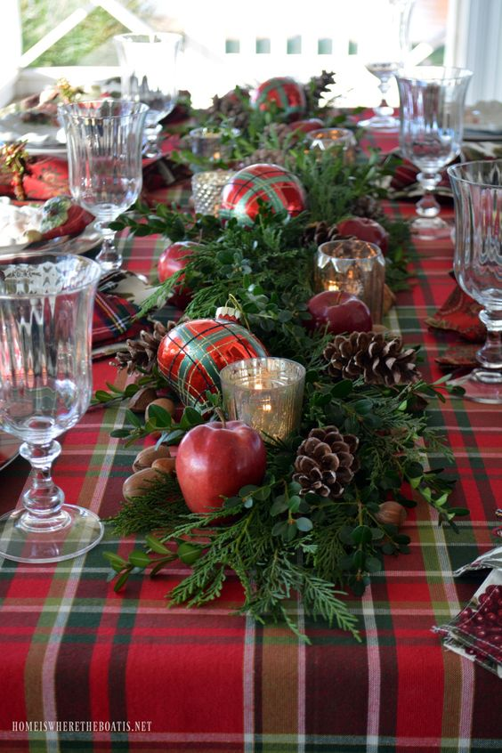 Plaid Tidings: Christmas Table with St. Nick and a Natural Evergreen Table Runner | homeiswheretheboatis.net #tartan: