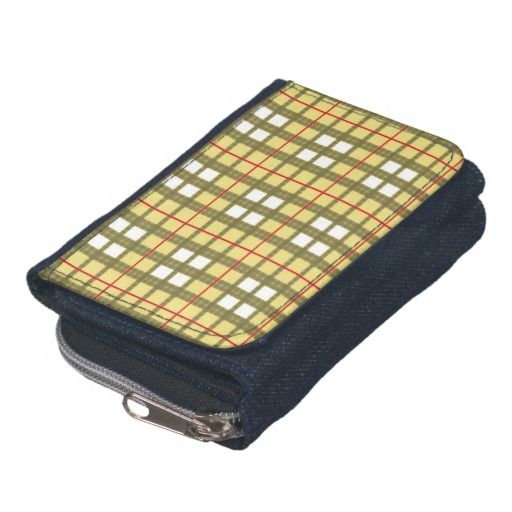 Red white and taupe plaid tartan wallet