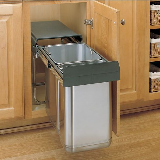 Pull Out Built In Trash Cans Cabinet Slide Out Under Sink Kitchen