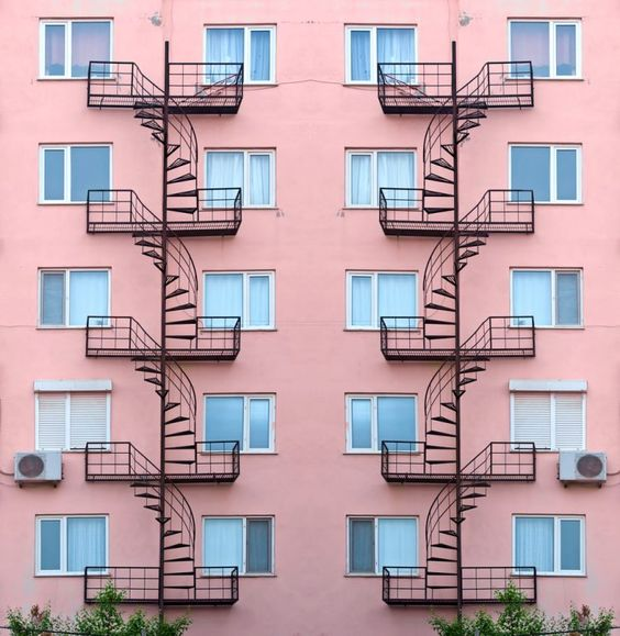 fire escapes stock photo