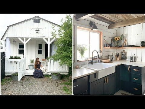 Woman Shows Inside Of Shed She And Husband Transformed Into A Farmhouse Home Tiny Farmhouse Tiny Cottage Interior Shed To Tiny House
