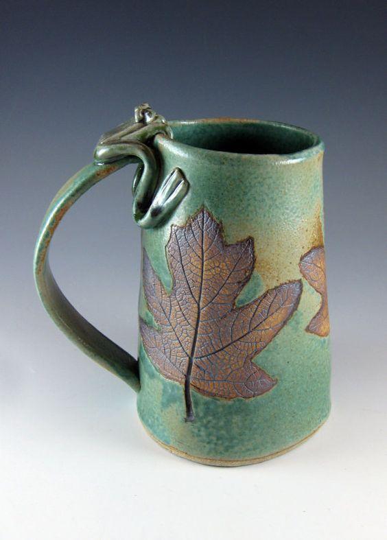 Large Beer Tankard Beer Stein Ceramic Mug Frog 32